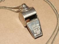 Vintage Wilson Whistle The ACME Thunderer Made in England Cork Ball on Necklace