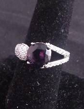 Large Silver Purple Zircon crystal RING SIZE 8 #R90