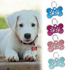 Stainless Steel Bone Paw Print Glitter Pet Id Tags Custom Engraved Dog Cat Tag