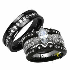 Hers His 4 PC BLACK STAINLESS STEEL & TITANIUM WEDDING ENGAGEMENT RING BAND SET