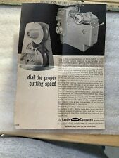 LANDIS MACHINE COMPANY THREADING EQUIPMENT  dial the proper cutting speed PENNSY
