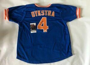 Lenny Dykstra Autographed New York Mets blue Jersey JSA Witnessed COA