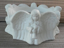 4 Angel Partylite White Bisque Angels Large candle 3 wick holder