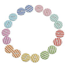 """90PCs Wood Buttons Stripe Pattern 2 Holes Round Scrapbooking Mixed 15mm( 5/8"""")"""