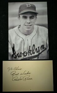 Vintage 1950s Playing Days Pee Wee Reese Dodgers Signed Card HOF D 1999 JSA Auth