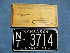 VINTAGE ORIGINAL NOS KANSAS LICENSE TAG CA 1552 1969 PLATE W/ ORIGINAL ENVELOPE