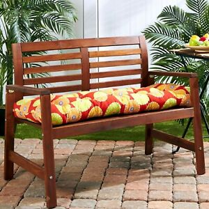 """Porch Swing Cushion Glider Bench Seat 44"""" Tufted Padded Patio Pillow Floral Red"""