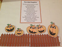FIVE LITTLE PUMPKINS - FLANNEL / FELT BOARD STORY PIECES HALLOWEEN