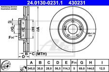 2x Bremsscheibe für Bremsanlage Vorderachse ATE 24.0130-0231.1