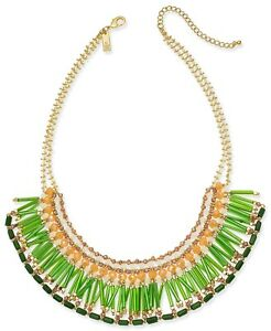 """INC International Concepts Gold-Tone Green Multi-Bead Statement Necklace 18"""" $49"""