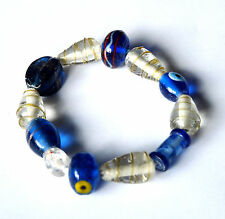Armband, blau-weiß, Glasperlen