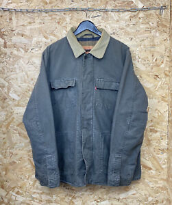 Vintage Levis 70460 Khaki Canvas Chore Jacket Size Large Blanket Lined