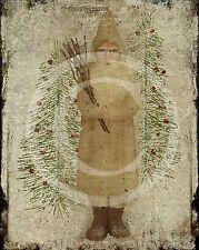 Primitive Christmas German Belsnickle St. Nick Tree  Folk Art 8x10 Laser Print
