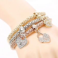 Women 3/Pcs Bracelet (Gold, Silver and Rose Gold)Plated Rhinestone Bangle charm
