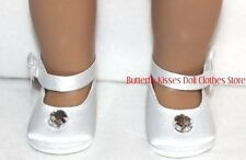White Satin Gem Bow Shoe Communion 18 in Doll Clothes Fits American Girl
