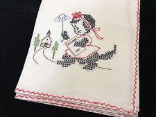 Vintage Embroidered Black Kitten Cat W/ Hymnal Flour Sack Towel (RF603)
