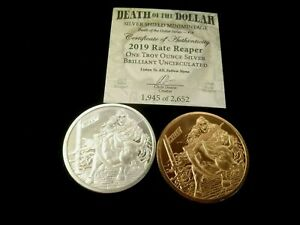 2019 1oz Silver Shield - Rate Reaper #18 - Includes Matching Copper Round - A9