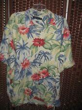 "Nautica silk floral shirt XL 52"" C button front short sleeve resort cruise"
