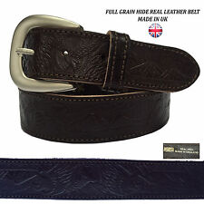 40mm Ladies Mens Womens Eagle Embossed Belt With Stitching Handmade In UK