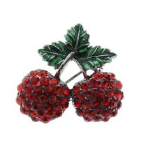 Pin Brooch Broach or Pendant Pair of Red Cherries Rhinestone
