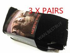 3 Pair MERINO WOOL MENS WORK SOCKS BLACK SIZE 2-8(brand New)