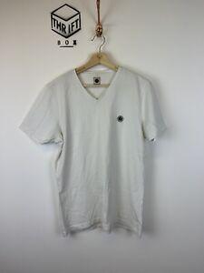 PRETTY GREEN, Mens Size M, White, Small Logo, Slim Fit, V-Neck T-Shirt,*VGC*