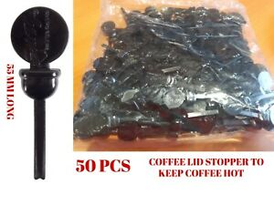 50 Coffee Lid Stopper Stixtogo Espresso To Go Takeaway Beverage 55 MM Long