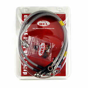 FULL KIT HEL Performance Braided Brake Lines Hoses For Toyota Corolla 1.4 2001-