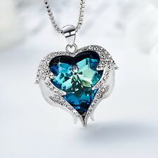 Luxury Lady's Necklace Forever Love Swarovski Crystals Angel Wings Heart Pendant