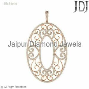 1.7ct Natural Pave White Diamond 14k Rose Gold Designer Filigree Pendant Jewelry