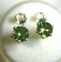 6 mm  Green Peridot Gemstone studs in Sterling Silver