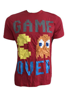 RED COTTON RETRO 80'S 90'S PAC-MAN GAME OVER GAMERS SLIM TEE LARGE 41-43 BNWT