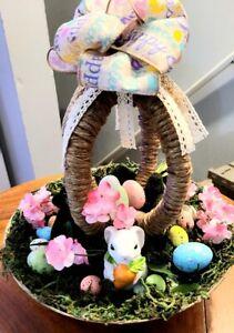 Spring Easter Twine Egg Rabbit Bunny Carrots Eggs Home Table Decor Display Riser