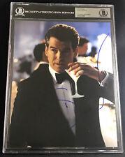 PIERCE BROSNAN JAMES BOND 007 SPY SIGNED 8X10 PHOTO BECKETT BAS W/ MARTINI GLASS