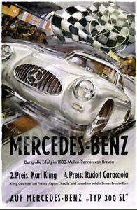 Mercedes vintage auto race commemorative poster repro 16x24