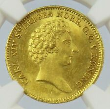 1843 AG GOLD SWEDEN DUCAT CARL XIV JOHAN COIN NGC MINT STATE 63+
