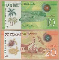 Nicaragua 10 & 20 Cordobas 2014 2015 UNC Polymer Banknote Set - 2 pcs