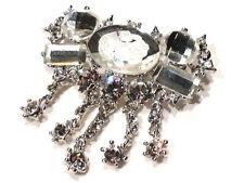 Bijou alliage argenté broche camée cristal blanc  brooch
