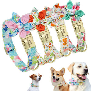 Fancy Flower Personalized Nylon Dog Collar Girls Custom Pet Name Phone Engraved