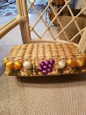 Bread Or Casserole Basket, vintage,  raffia, fruit, rectangular