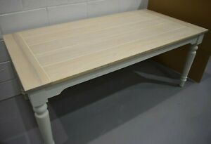 Laura Ashley Dorset Dining Table in White Solid Wood 75 x 180 x 90