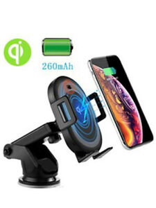 WIRELESS CAR CHARGER 10W Qi FAST CHARGING AUTO-CLAMPING CAR MOUNT WINDSHIELD DAS