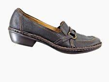 Clarks Artisan Loafers Brown Women Leather Block Heel Stitch Shoes Sz 7.5N EU 38
