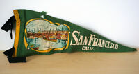 Vtg 50's San Francisco California Green Felt Fisherman's Wharf Souvenir Pennant