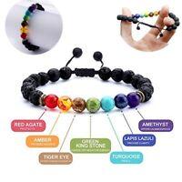 7 Chakra Yoga Woven Bracelet Natural Stone Lava Beads Adjustable Bangle Jewlery