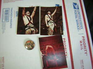 RATT BUTTON 1985 FUNKY W/3 UNPUBLISHED 3X5 PHOTOS STEPHEN PEARCY ROBIN CROSBY