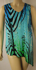 Rockmans Blue Multi Animal Sleeveless Asymmetrical Tunic Top Size 20 BNWT # E72