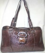 MC Marc Chantal Brown Faux CROC Print Embossed Shoulder Bag Satchel
