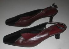 SANDLER WOMEN'S BURGUNDY & BLACK LEATHER SHOES SIZE 8.5 B MADE IN AUSTRALIA