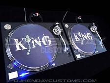 2 custom wrinkle matte black textured Technics SL 1200 mk2's blue leds